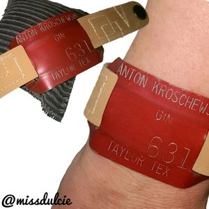 Leather Cuff Red Upcycled Vintage Cotton Bale Tag